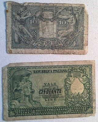 Lot of 2 OLD (1944) ITALIAN BANK NOTES  FOR 10 & 50 LIRE Circulated
