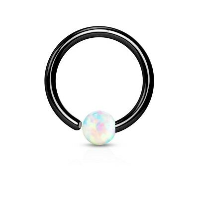 Tapsi ´S ´S coolbodyart Hoop Ring Surgical Steel Black with Opal in White