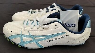 Womens Size 8 White/Blue Asics Hyper Rocket Girl SP Track & Field Spikes Shoes