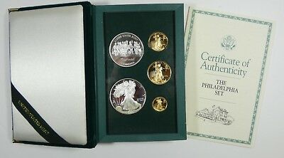 1993 US Mint The Philadelphia Set 5 Coins PROOF Gold & Silver w/Box and COA