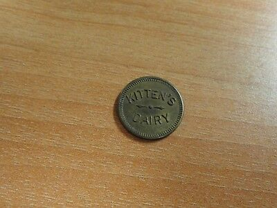 Antique Original Kitten's Dairy Good For 3 Brass Token Tag Unlisted