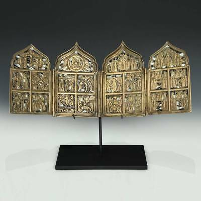 Antique Russian Old Believers 4 Panel Icon Bronze Enamel New Testament 18Th C