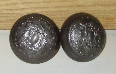 Pair Antique Cast Iron Door Knobs Square Shaft Rustic Late 1800's