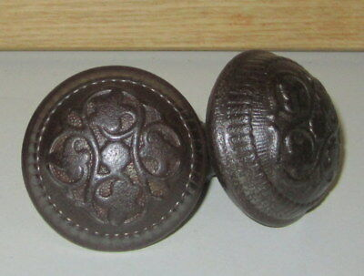 Antique Pair Cast Iron Door Knobs Square Shaft Rustic Late 1800's