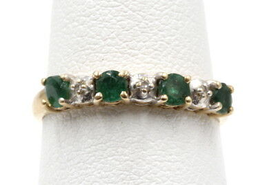 Vintage 10K Yellow Gold Emeralds & Accent Diamonds Cocktail Ring -Nr #352-9