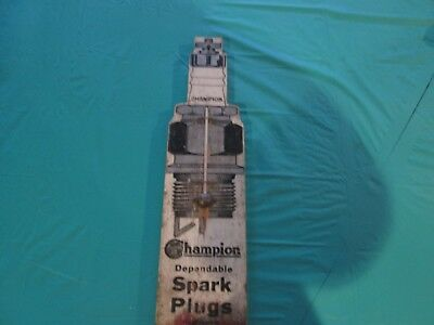 Early Original Champion Spark Plug Wooden Thermometer Sign.