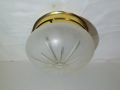 Vintage 1940's Mid Century Atomic Frosted Glass Globe Ceiling Light Fixture!