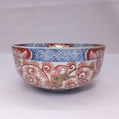 E781: Japanese OLD IMARI beautiful porcelain bowl with fine arabesque pattern. S