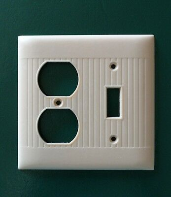 Vintage Sierra Bakelite Ribbed Electrical Outlet light Plate Wall Cover Ivory