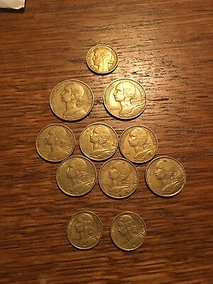 France 11 coins 10, 20, 50 Centimes  1941-1971
