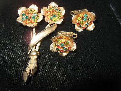 Vintage 30s 40s 50s multicolor Rhinestone Flower Brooch Pin & Earrings Set