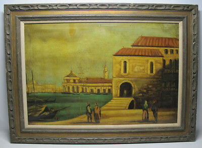Antique Late 19th c Italian School Oil on Canvas Venice Canal Scene Painting yqz