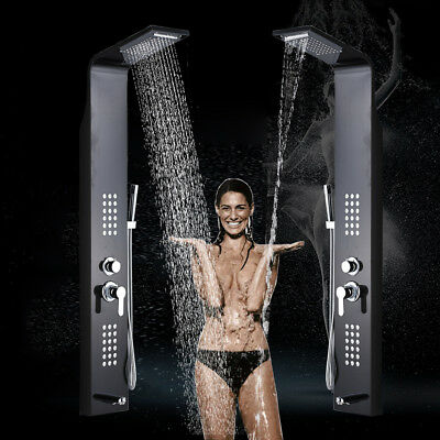 Stainless Steel Shower Panel Tower Rain&Waterfall W/Massager Body System Jet Tap