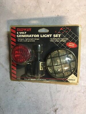 New Bicycle Generator Light System HeadlightRed Rear Taillight & 6 Volt Ge