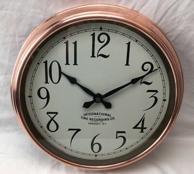 "Vintage 1931 Copper International Time Recording Co. Business Clock 14"" Awesome!"