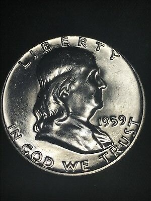 1959-P Franklin Half Dollar 90% Silver  Brilliant Uncirculated Actual Coin Shown