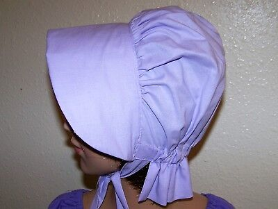 LADIES WOMENS BONNET COSTUME,THEATER,CIVIL WAR 100% COTTON #121 LT Lavender