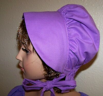 LADIES WOMENS BONNET COSTUME,THEATER,CIVIL WAR 100% COTTON Dark Lavender #106