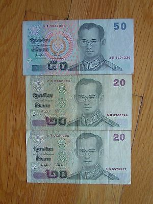 LOT OF (1) Thailand 50 Baht & (2) Thailand 20 Baht Currency Banknote