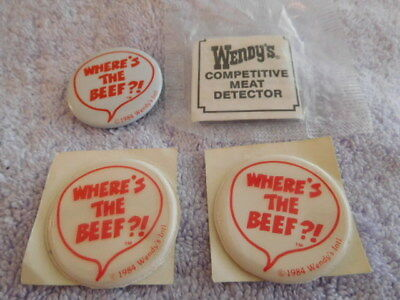 Wendy's 1984 Pins - Lot Of Pin/stickers/competitive Meat Detector