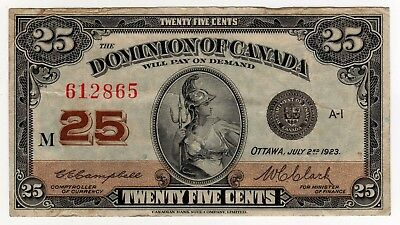 1923 Dominion of Canada 25 Cent Note - M-612865, DC-24d