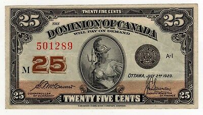 1923 Dominion of Canada 25 Cent Note - M-501289, DC-24c