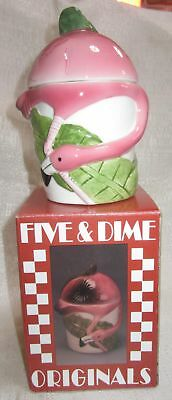 Flamingo a sugar bowl wih a lid old ceramic c1997 20 years old NOS