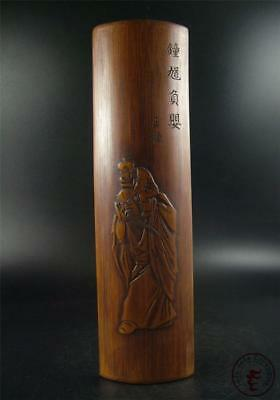 Antique Old Chinese Rosewood Made Bi Ge Statue Paperweight Signed by Artist
