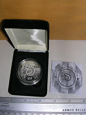 2001 Singapore YEAR OF THE SNAKE $10 2 oz 999 Silver Proof Piedfort Box/COA nice