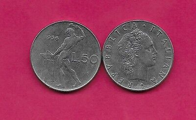 Italy Rep 50 Lire 1956R Xf Vulcan Standing At Anvil Facing Left Divides Date & V