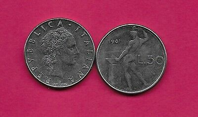 Italy Rep 50 Lire 1981R Xf Vulcan Standing At Anvil Facing Left Divides Date & V