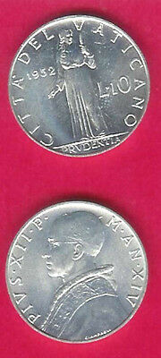Vatican  City 10 Lire 1952 Unc Prudence Standing Bust Left,date Divides Denomina