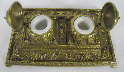 Antique 19th C Art Nouveau Yellow Bronze Double Inkwell Footed Desk Tray NR yqz