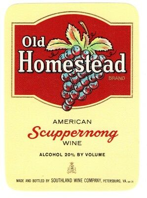1930s SOUTHLAND WINE COMPANY, PETERSBURG, VIRGINIA SCUPPERNONG WINE LABEL