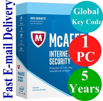 McAfee Internet Security 1 PC / 5 Years (Unique Global Key Code) 2020