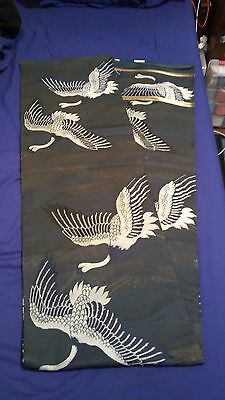 SALE! Ancient Japanese Textile Meiji Flying Cranes Maru Obi