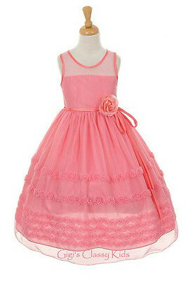 New Flower Girls Coral Aqua Pink Dress Pageant Party Easter Fancy Holidays 6359K