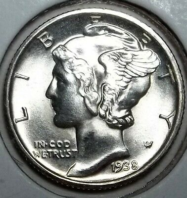 1938-D Mercury Dime .. Frosty BU.. Full Bands... Sharp Specimen for High End set