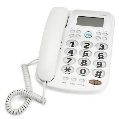 White Corded Phone Big Button Landline Desktop Home Telephone Hotel Bar