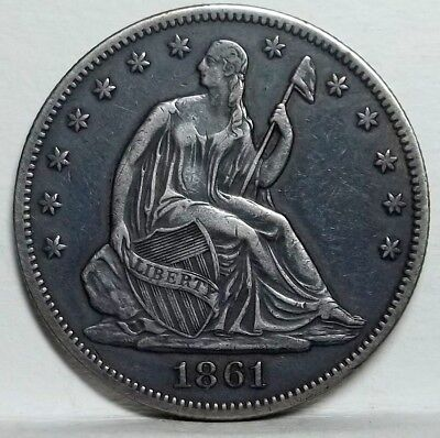 1861-P Seated Liberty Half XF details... Civil War Date ... Cleaned and Re-toned