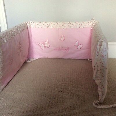 Laura Ashley bella butterfly cot bumper BNWOT