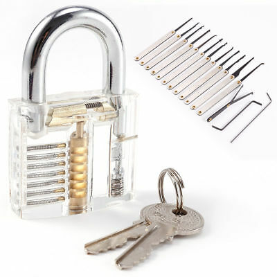 Unlocking Lock Pick Set Key Extractor +Transparent Practice Padlocks