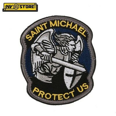 Patch Ricamata Saint Michael Protect US 8,5 x 7 cm Militare Velcrata Blu-Yellow