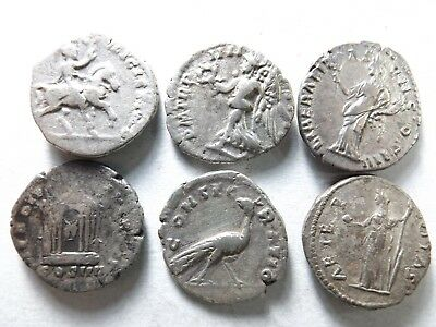 Lot of 6 Quality Ancient Roman Silver Coins;Severus, Pius, Faustina; 15.1 Grams!