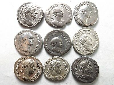 Lot of 9 Higher Quality Ancient Roman Silver Coins;Hadrian, Aurelius;23.2 Grams!
