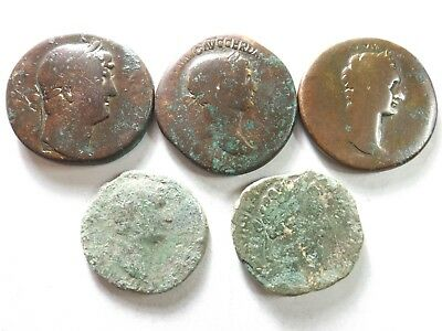 Lot of 5 Low Quality Larger Ancient Roman Coins; Hadrian, Trajan...; 93.3 Grams!