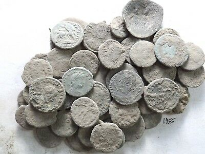 Lot of 50 Lower Quality Uncleaned Ancient Roman Coins; 117.1 Grams!