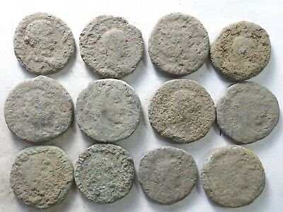 Lot of 12 Lower Quality Uncleaned Crusty Larger Ancient Roman Coins;161.4 Grams!