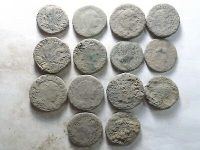 Lot of 14 Lower Quality Uncleaned Crusty Larger Ancient Roman Coins;192.0 Grams!