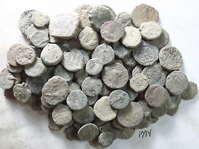 Lot of 100 Low Quality Uncleaned Ancient Roman Coins; 126.0 Grams!